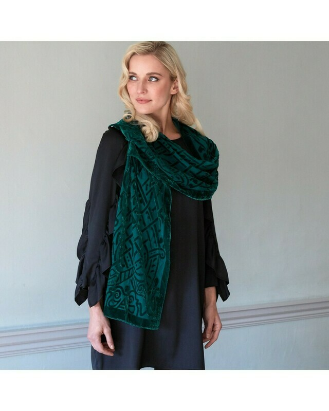 Green Celtic Burn Out Velour Scarf
