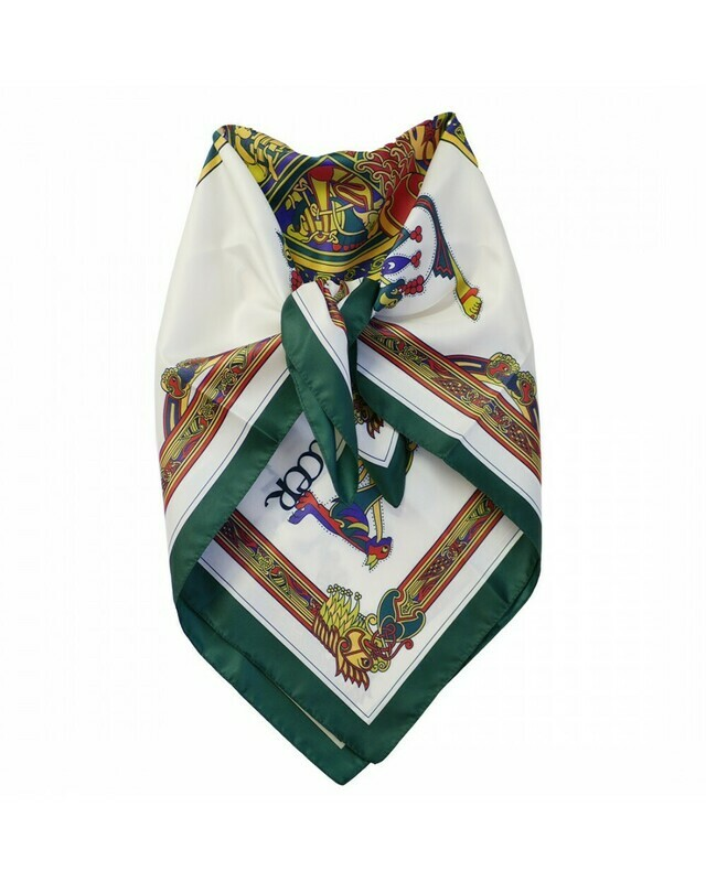 Book of Kells Bottle Green/Red/ Purple Square Signature Scarf