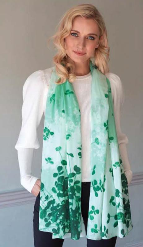 Green & White Shamrock Sprig Fashion Scarf