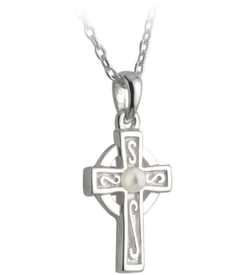 First Communion Pearl and Celtic Cross Pendant