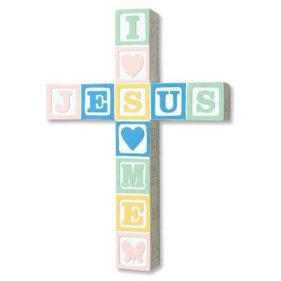 JESUS LOVES ME PASTEL WALL CROSS