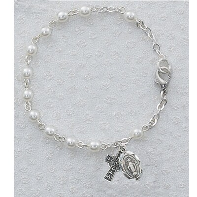 Pearl Irish Bracelet with Celtic Cross and Miraculous Medal
