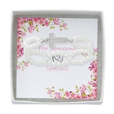 Crystal Cross Pearl Stretch Bracelet