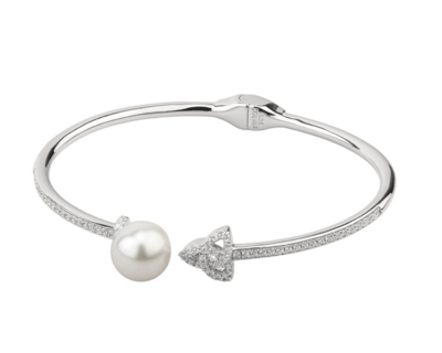 Sterling Silver CZ and Pearl Trinity Knot Bangle