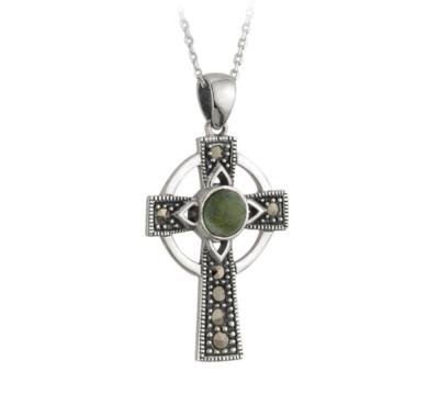 Connemara Marble Marcasite Cross Pendant