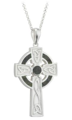 Sterling Silver Connemara Marble Large Cross Pendant