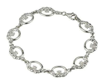 Silver Claddagh Links Bracelet