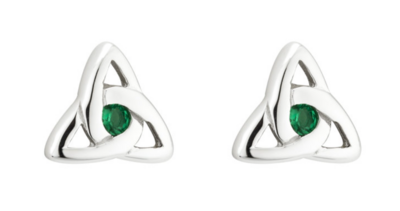 Sterling Silver Green Crystal Trinity Knot Stud Earrings