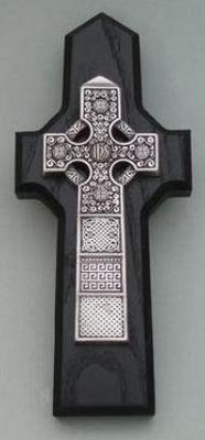 Pewter/Ebony Stained Wood Celtic Wall Cross
