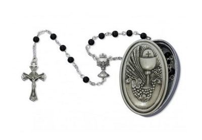 5mm Black Rosary with Pewter Communion Box
