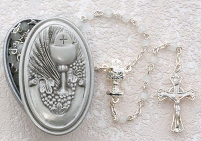 White Rosary with Pewter Communion Box