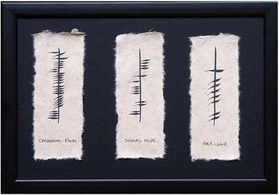 Ogham Plaque - Faith Hope Love