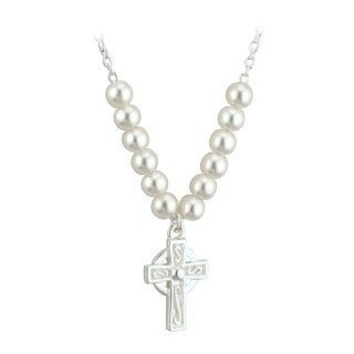 First Communion Pearl and Cross Pendant