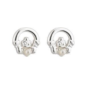 First Communion Claddagh & Pearl Earrings