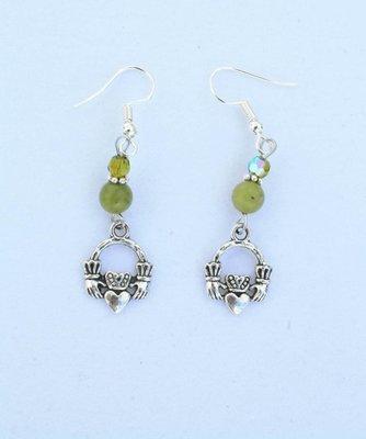 Connemara Marble & Swarovski Claddagh Earrings