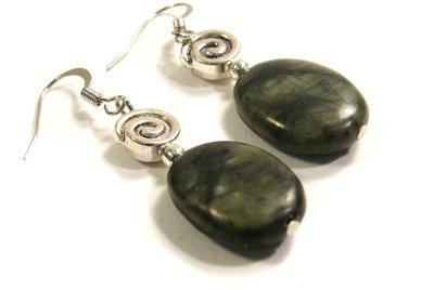 Dark Green Jasper Spiral Earrings