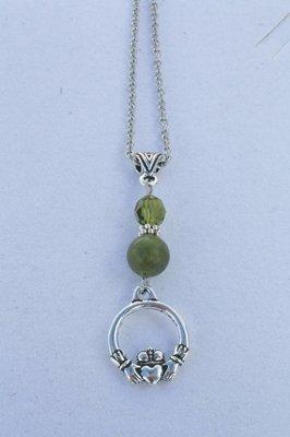 Connemara Marble & Swarovski Claddagh Pendant