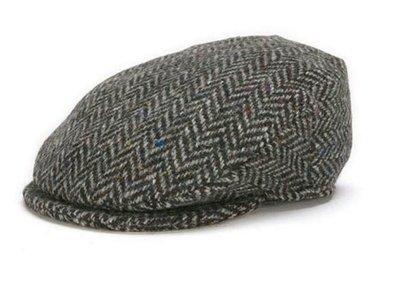 Vintage Cap - Grey and Black Herringbone