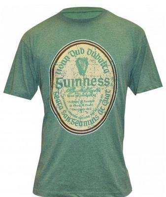 Guinness Green Distressed Gaelic Label Tee