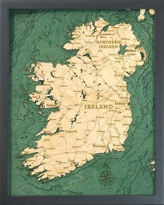 Wood Chart Map of Ireland
