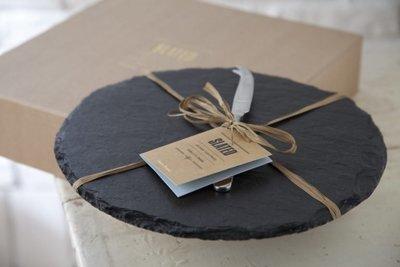 Slate Round Cheeseboard Gift Set
