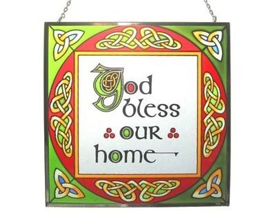 God Bless Our Home Square Panel - Stained Glass