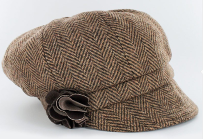 Newsboy Cap - Light Brown Herringbone
