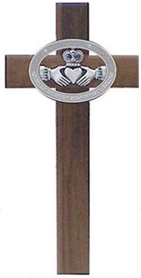 "10"" Walnut Cross with Celtic Claddagh"