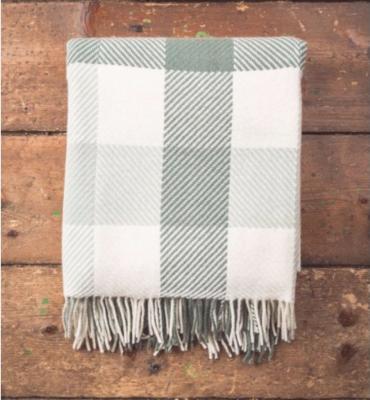 Foxford Dublin Check Throw Aqua Green and White Blanket