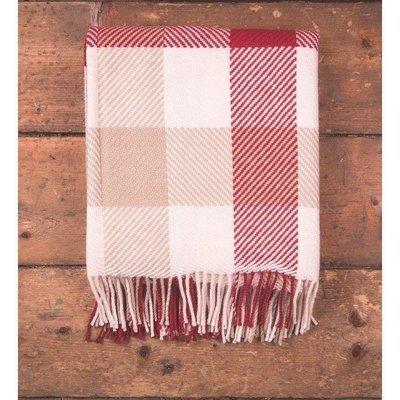 Foxford Red White Dublin Check Blanket