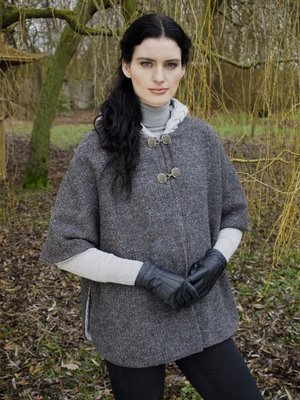 Hooded Tweed Cape with Aran Lining