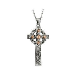 Copper and Silver Tone Dome Large Cross
