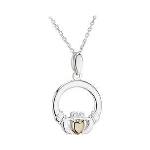 Sterling Silver and 10k Gold Heart Claddagh Pendant