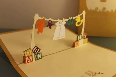 Christening Clothesline Pop-Up Card