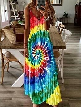 Loose Contrast Color Plus Size Maxi Dresses