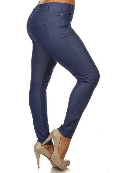 Cotton-Blend 5-Pocket Skinny Jeggings - Plus Denim Blue 2XL
