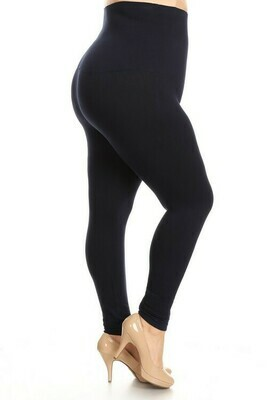 Compression Tights with French Terry Li - Plus Size Black