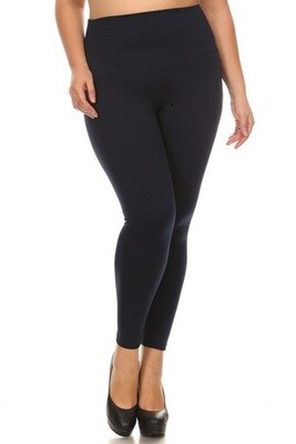 Compression High Waisted Seamless Fleece Tights with Tummy Control - One size fits Most Black
