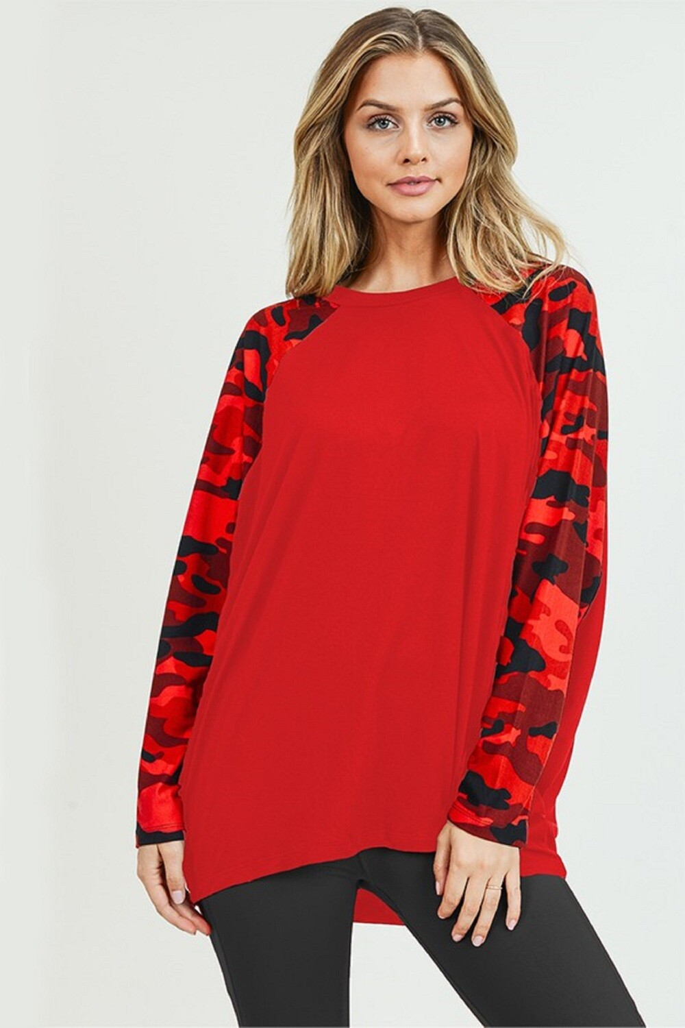 Women's Camouflage Dolman Sleeve Top- EXTRA LARGE