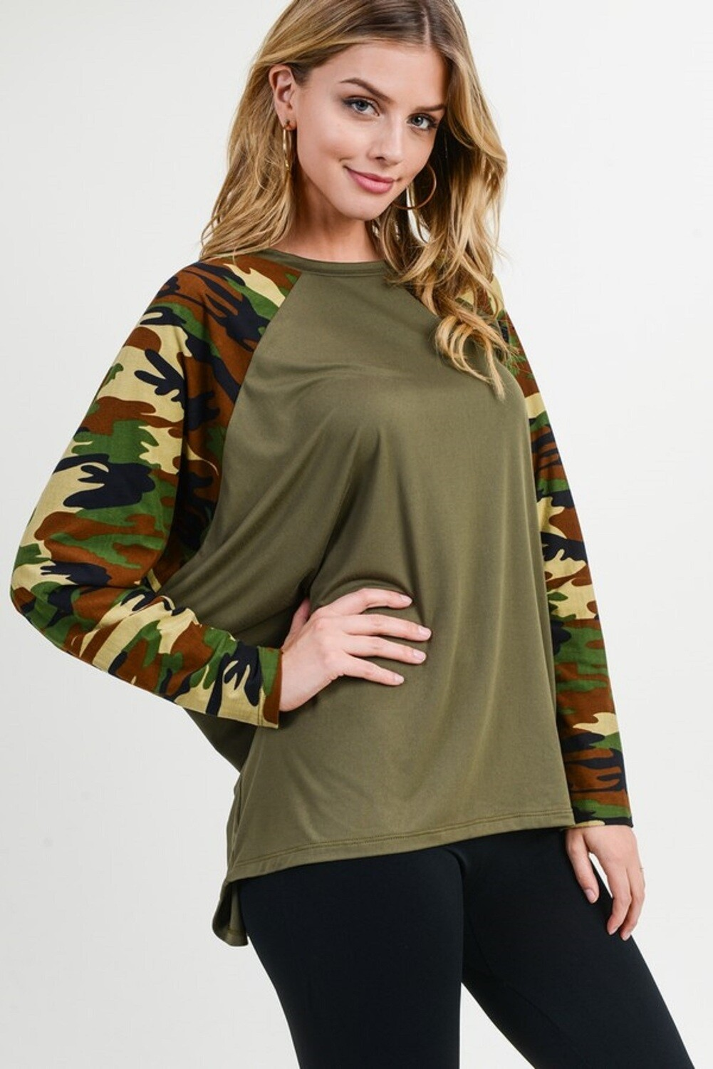 Women's Camouflage Dolman Sleeve Top-SMALL