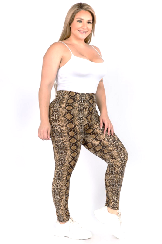 Snakeskin Print Peach Skin Leggings - PLUS SIZE