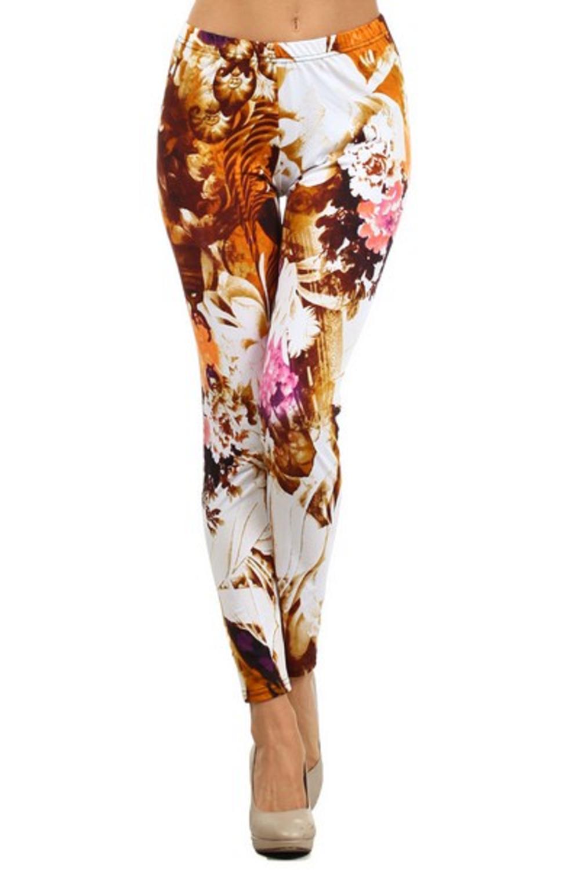 Women's Brown Orange Vintage Hawaiian Printed Leggings