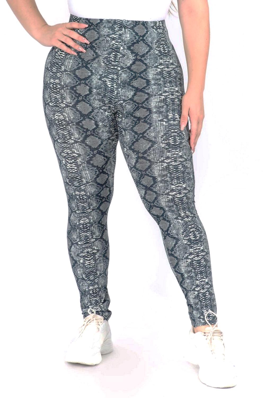 Women's Snakeskin Print Peach Skin Leggings - PLUS SIZE