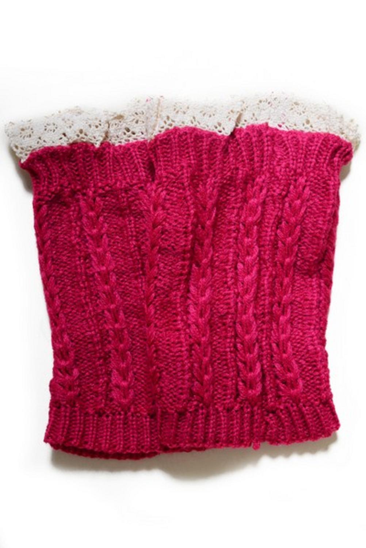 WHOLESALE Women's Crochet Trim Short Leg Warmers-FUCHSIA
