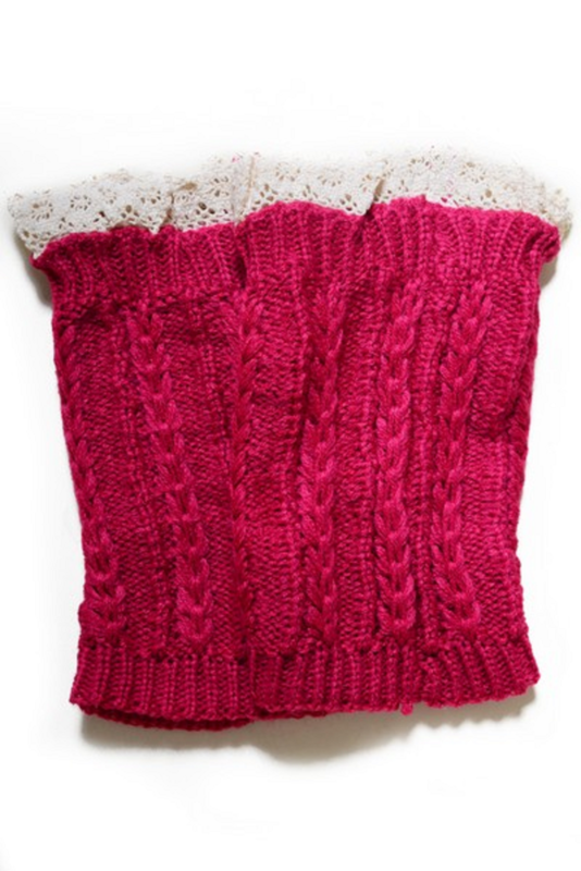 WHOLESALE Women's Crochet Trim Short Leg Warmers-FUCHSIA