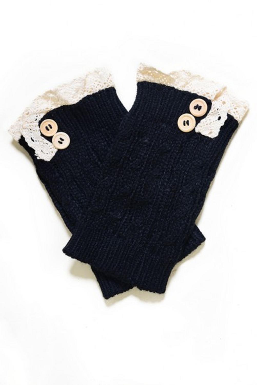 Women's Crochet Button Trim Short Leg Warmers-BLACK