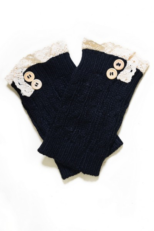 Women's Crochet Button Trim Short Leg Warmers-BLACK