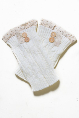 Short Boot Covers with Crochet Lace and buttons-WHITE