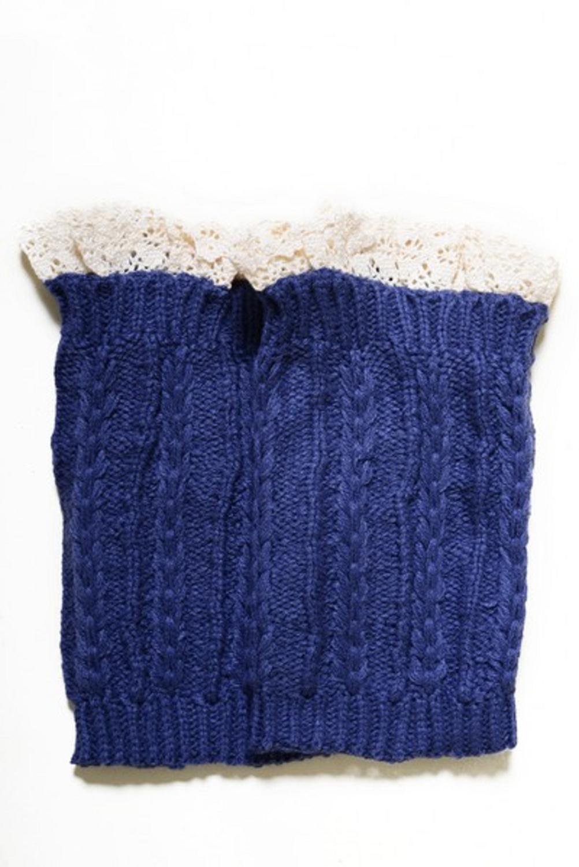 Lady's Fashion Designed Leg Warmer-Denim Blue