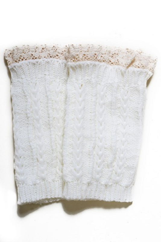 Lady's Fashion Designed Leg Warmer-White